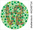 (Jpg) Inspired by colour blind tests, the word LOVE is behind green dots, which may be hard to see if one is colour blind! (A vector eps10 version is also available) - stock photo