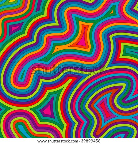 (Jpg) Offset bright, swirly, psychedelic pattern. A vector version is also available. - stock photo