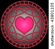 (Jpg) Pink heart and swirly patterns in a circle. A vector version (eps 10) is also available. - stock photo