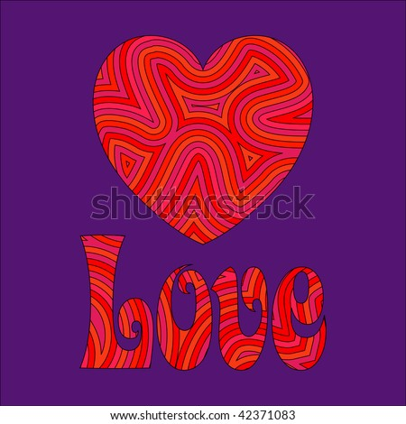 (Jpg) Psychedelic love. Be my Groovy Valentine!! A vector version is also available. - stock photo