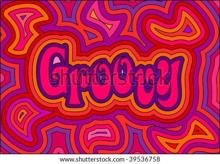 (Jpg) 60s groovy retro psychedelic design. A vector version is also available. - stock photo