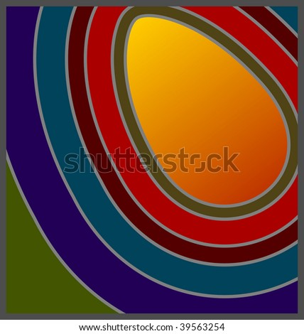 (Jpg) 60's/70's Retro concentric colours with egg shaped copy space. A vector version is also available. - stock photo
