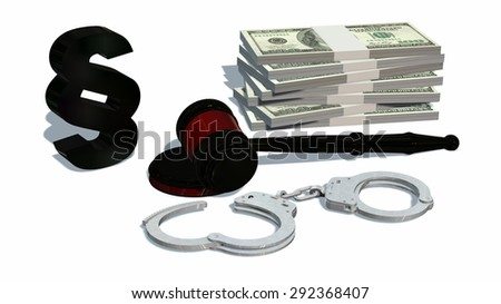judge gavel and Handcuffs isolated on white background - stock photo