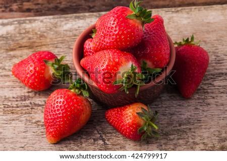 juicy fresh ripe red strawberries. fresh  strawberries - stock photo