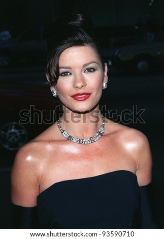 """10JUL98:  Actress CATHERINE ZETA-JONES at the world premiere, in Los Angeles, of her new movie """"The Mask of Zorro."""" - stock photo"""