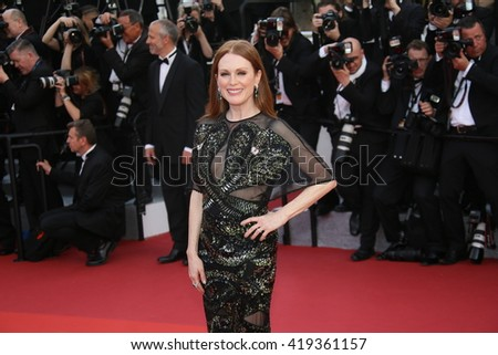 Julianne Moore attends the 'Cafe Society' premiere and the Opening Night Gala during the 69th Cannes Film Festival at the Palais des Festivals on May 11, 2016 in Cannes, France. - stock photo