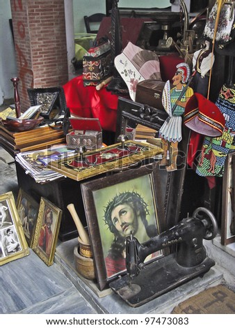 Junk shop in Athens, - stock photo