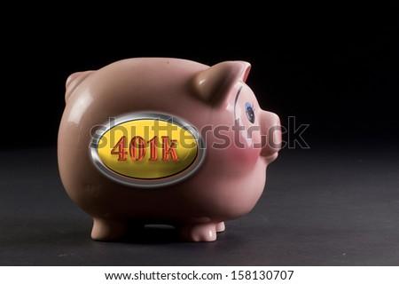 401K Piggy Bank. - stock photo
