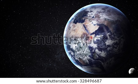 5K resolution image of Earth in space. Elements furnished by NASA - stock photo