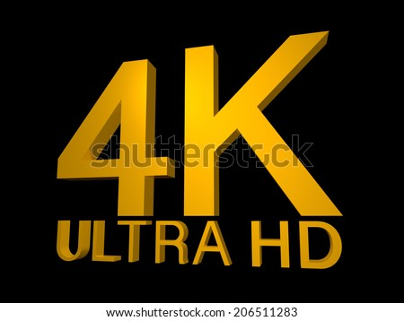 4K Ultra HD Logo in 3d golden lettering with a highlight to the K and an angled perspective on a black background - stock photo