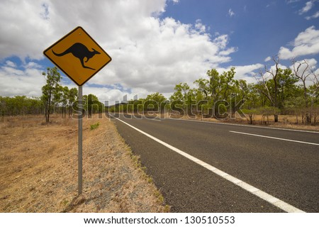Kangaroo road sign in australian outback - stock photo