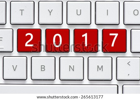 Keyboard with 2017 button. Computer white keyboard with 2017 button - stock photo