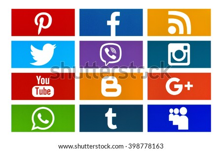 Kiev, Ukraine - March 30, 2016: Set of most popular social media icons:Twitter, Pinterest, Instagram, Facebook, Blogger, WhatsApp,Viber, Youtube, Google Plus, MySpace, Tumblr and others on pc screen. - stock photo