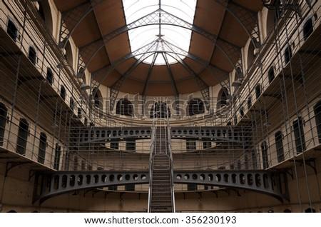 Kilmainham Gaol with Prison Cells in Dublin, Ireland - stock photo