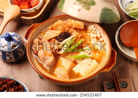 Kimchi hot pot  on the table                                                                                  - stock photo