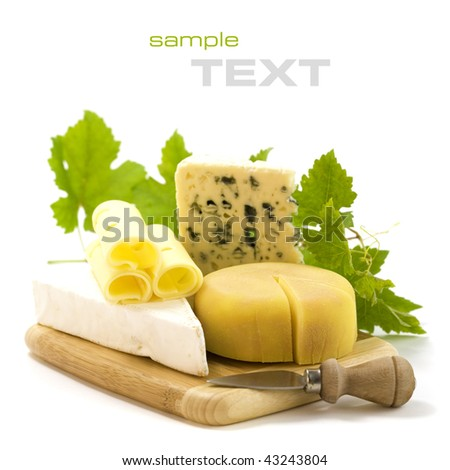 4 kinds of cheese with a cheese knife and grape leaves. With sample text - stock photo