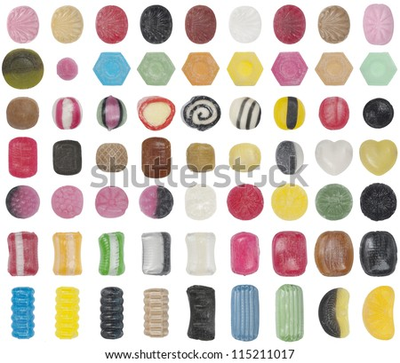 63 kinds of hard candy isolated with soft edges on a white background - stock photo