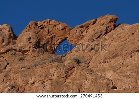 """""""Kissing camels"""" formation in the red rocks at Garden of the Gods in Colorado Springs - stock photo"""
