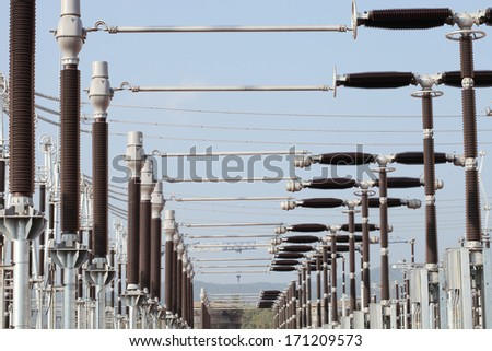 500 kV extra high voltage equipments and steel supporting structure - stock photo