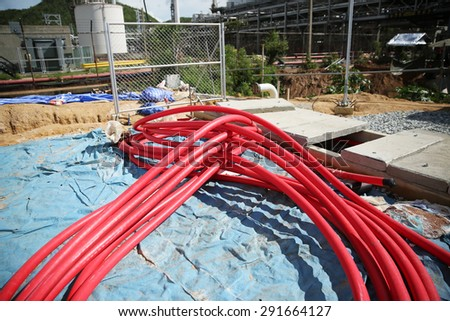 33 kV XLPE power cable use in switchgear. - stock photo