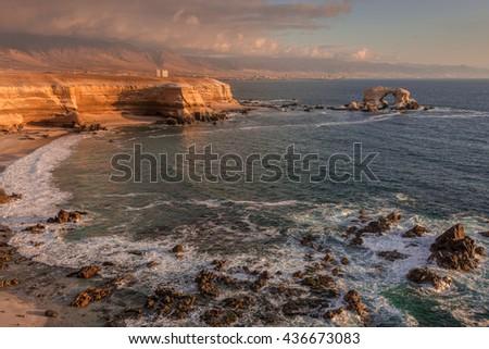 'La Portada' Natural Monument at sunset, Antofagasta (Chile) - stock photo
