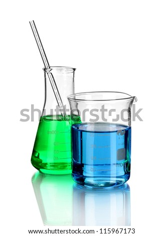 laboratory glassware with color liquid and with reflection isolated on white - stock photo