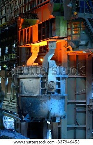 ladle furnace in steel plant - stock photo