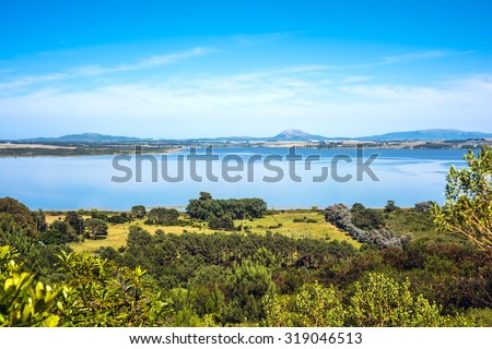 Lagoon of the Willow (Laguna del Sauce) is the largest water body in the Maldonado Department of Uruguay - stock photo