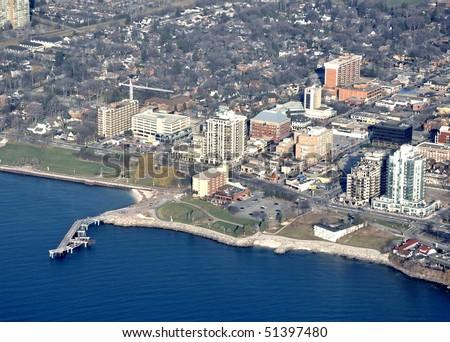 Lake Ontario shore aerial view; Burlington area near the  newly constructed unfinished bridge  Burlington, Ontario Canada - stock photo
