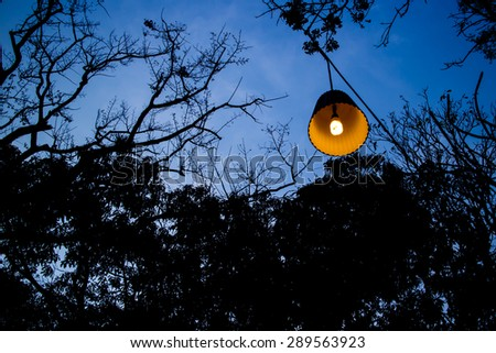 Lamp at twilight time - stock photo