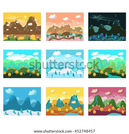 Landscape Cartoon Seamless Backgrounds Set  - stock photo