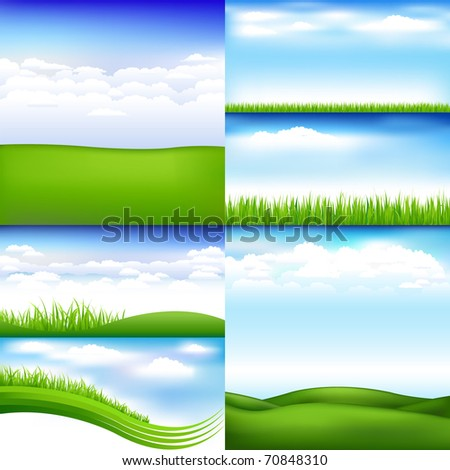 6 Landscapes With Clouds And Grass - stock photo