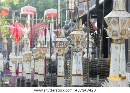 lanterns at the Wat Phan Tao Temple at the Loy Krathong Festival in the city of Chiang Mai in North Thailand in Thailand in southeast Asia. - stock photo