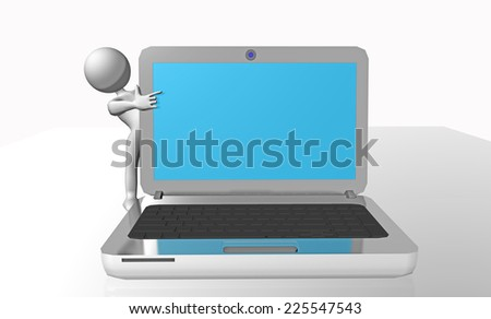 laptop screen for background - human 3d character - stock photo