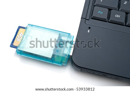 Laptop with Loaded Card Reader,isolated on white background - stock photo