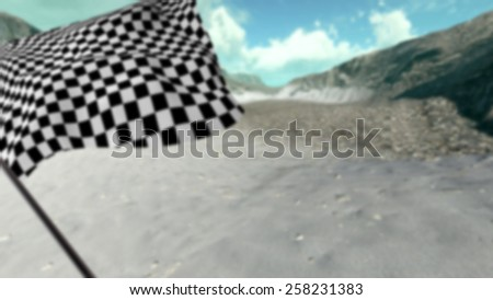 Large Checkered Flag with fabric surface texture with landscape background - stock photo