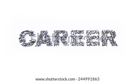 Large group of people standing in the word CAREER on white background - stock photo