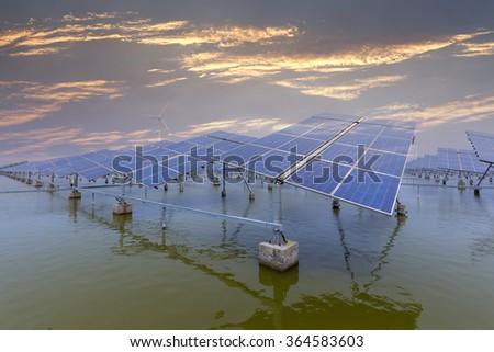 Large solar panels at work - stock photo
