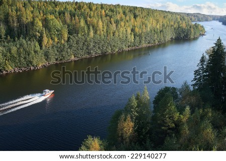launch on move, traffic in Saima channel, Baltic sea                             - stock photo