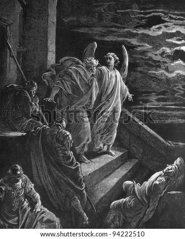 1) Le Sainte Bible: Traduction nouvelle selon la Vulgate par Mm. J.-J. Bourasse et P. Janvier. Tours: Alfred Mame et Fils. 2) 1866 3) France 4) Gustave Doré - stock photo