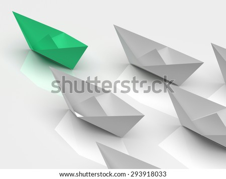 Leadership concept. One green leader ship leads other white ships forward - stock photo