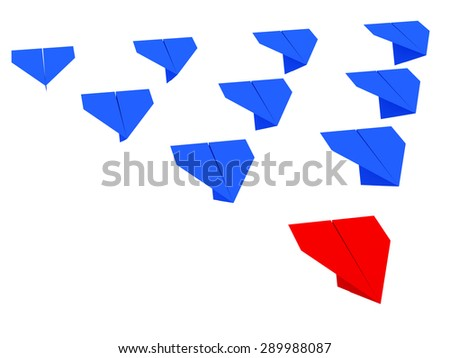 Leadership concept. One red leader plane leads other blue planes forward - stock photo