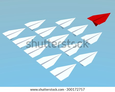 Leadership concept. One red leader plane leads other white planes forward - stock photo