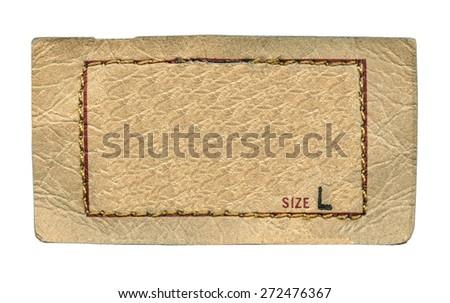 leather label on white background, size - stock photo