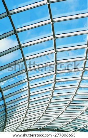 LEEDS, UK - APRIL 17, 2015: Architectural detail of the glass roof of  Trinity shopping centre in Leeds, England.  - stock photo