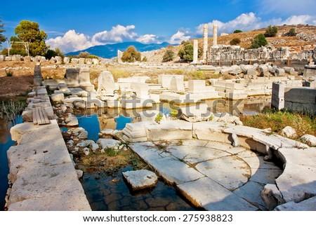 Letoon - sanctuary of Leto goddess near the ancient Lycian city Xanthos, Turkey - stock photo