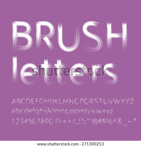 letters and numbers painted with brush. . RGB. Global color. Gradients free - stock photo
