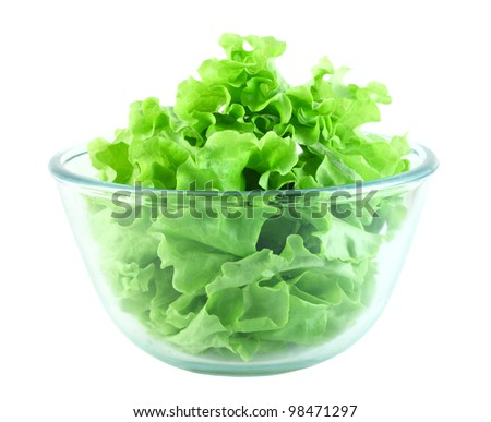 Lettuce salad in transparent bowl isolated on white - stock photo