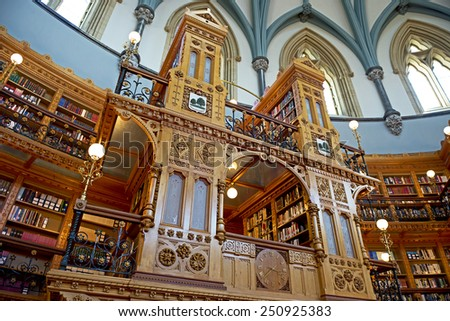 Library of Parliament in Ottawa - Ontario, Canada - stock photo