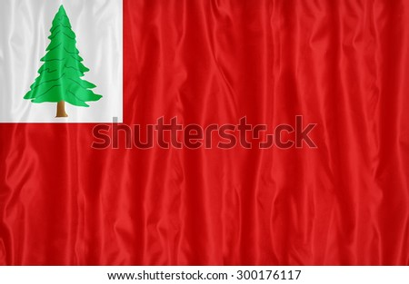 Lincoln County, Maine flag pattern with a peace on fabric texture,retro vintage style - stock photo